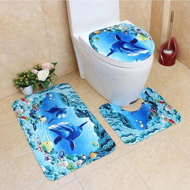 3D Print 3Pcs Rug Set Bathroom Decor Toilet Covers Non-slip Bath Floor Mat Lid