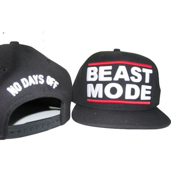 Beast Mode Snapback Gym Hat ($20) ❤ liked on Polyvore featuring accessories, hats, embroidered snapbacks, embroidered hats, wool snapback, logo hats and wool hat