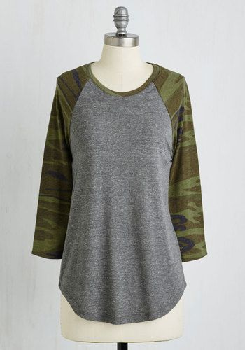 Candid Camouflage Top - Green, Solid, Print, Casual, 3/4 Sleeve, Knit, Better, Scoop, Mid-length