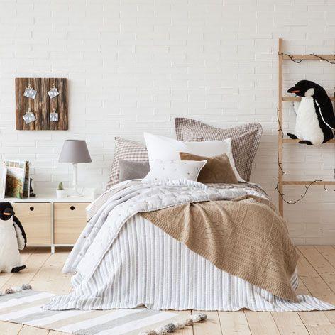 Copriletto e federa da cuscino cotone a righe copriletti letto zara home italia camera - Zara home letto bambino ...