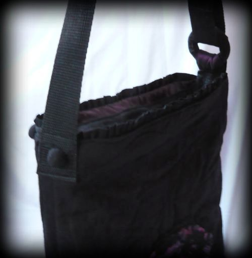 Handmade by Judy Majoros - Purple-black lace shoulder bag. Crossbody bag.Recycled bag