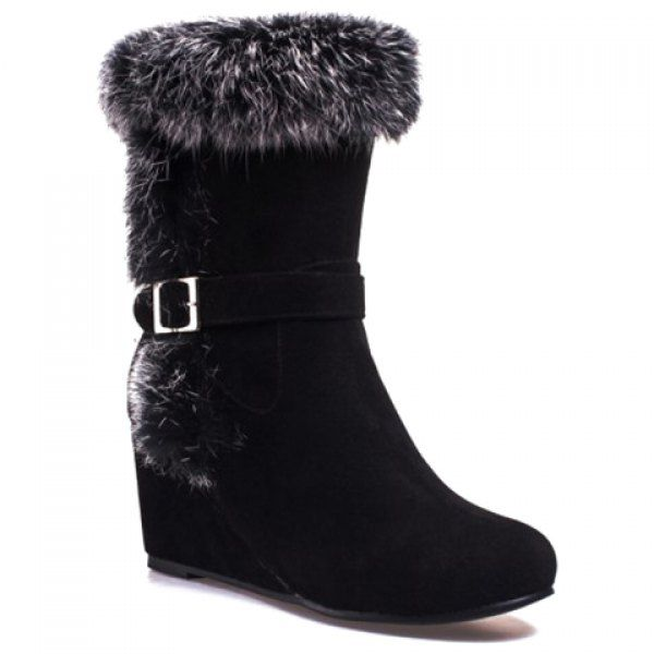 Stylish Wedge Heel and Faux Fur Design Women's Mid-Calf Boots #shoes, #jewelry, #women, #men, #hats, #watches, #belts
