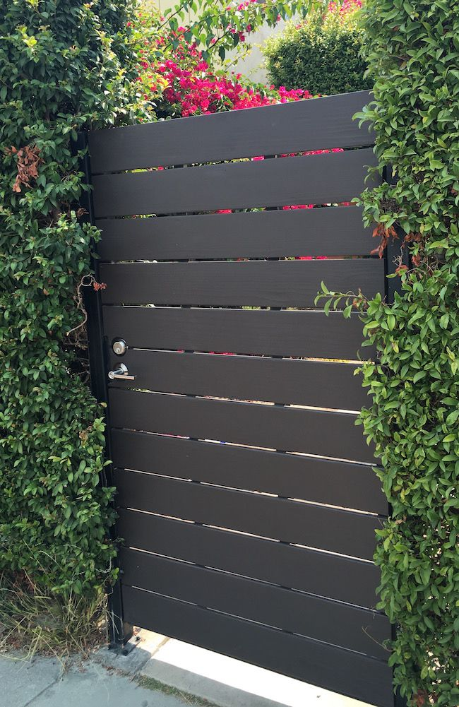 Modern Redwood Gate - 1 x 6 Horizontal - Steel Frame