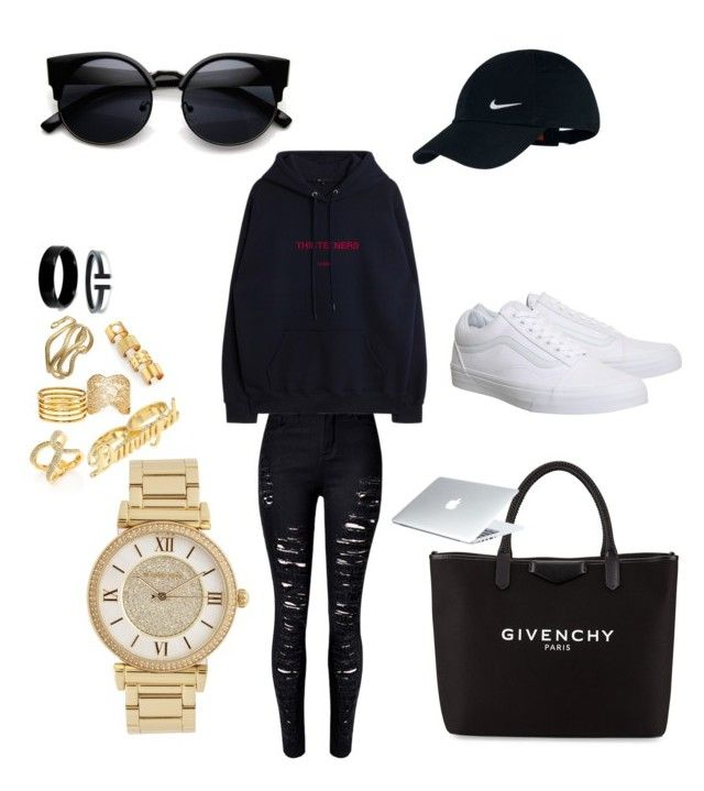 """Goals"" by madisonkiss on Polyvore featuring NIKE, West Coast Jewelry, Q&Q, Kelly Wearstler, Kenneth Jay Lane, Aurélie Bidermann, Michael Kors, Givenchy and Vans"