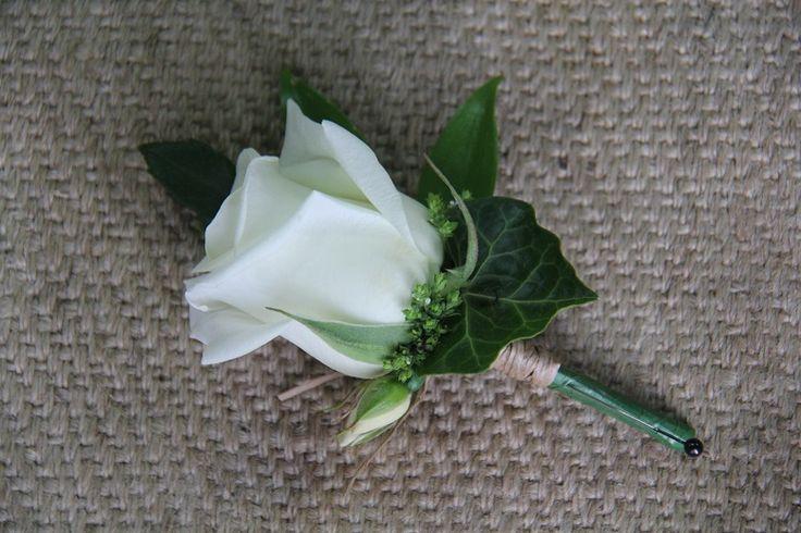 White rose buttonhole www.wanakaweddingflowers.co.nz