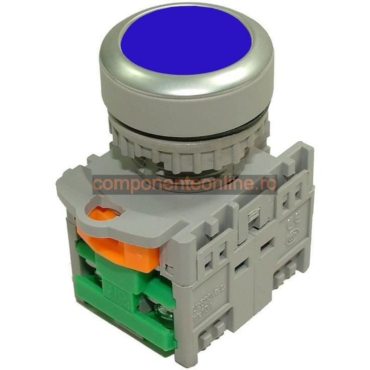 Push buton fara retinere, 2 contacte, albastru - 125044