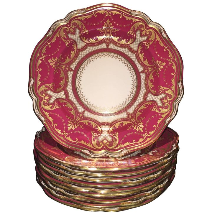 Set of Ten Gold Encrusted Magenta Colored Spode Copeland's China Dinner Plates | From a unique collection of antique and modern dinner plates at https://www.1stdibs.com/furniture/dining-entertaining/dinner-plates/