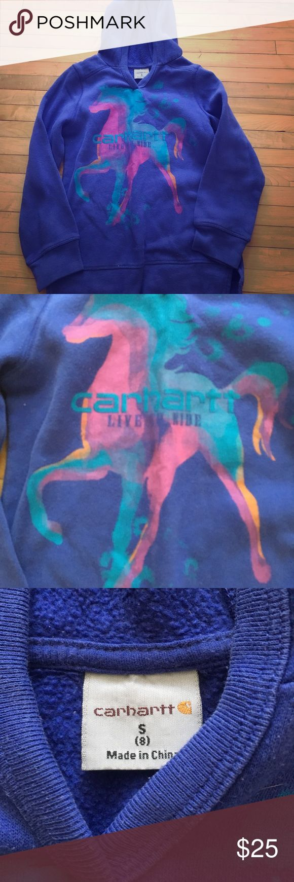 Carhartt brand blue horse sweatshirt girls size 8 Carhartt brand. Size small 8 girls.  made in China. Hooded sweatshirt. Horse multi colored. Live to ride under carhartt brand Carhartt Shirts & Tops Sweatshirts & Hoodies