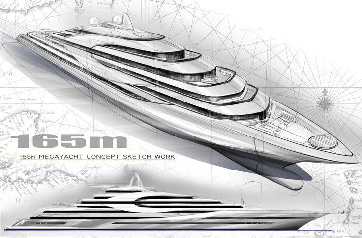 Superyacht Sketches | Tony Castro Yacht Design