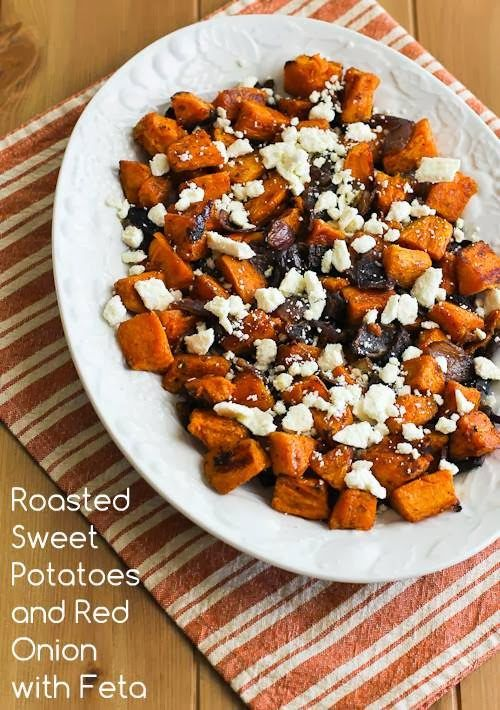 Recipe for Roasted Sweet Potatoes and Red Onions with Feta; this can be a meatless main dish or a side dish. [from Kalyn's Kitchen] #GlutenFree #LowGlycemic