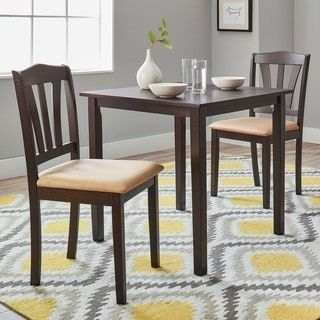 Simple Living Montego 3 piece Dining Set  Dark Brown Wood  Brown Seat  Cushions. Best 25  Cheap dining sets ideas on Pinterest   Cheap dining table