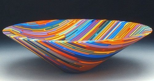 Fused glass rainbow bowl by artist Martin Krememer http://www.homeworkshop.com/wp-content/uploads/2009/03/martin-kremer-rainbow-bowl.jpg