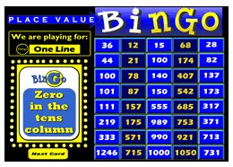 Place Value Bingo with interactive bingo caller. Designed for 2nd, 3rd, 4th grades. Use this with a classroom whiteboard to draw random cards and display called answers while the students play along with their own bingo cards. Try the bingo caller online at teachersclassmate.com