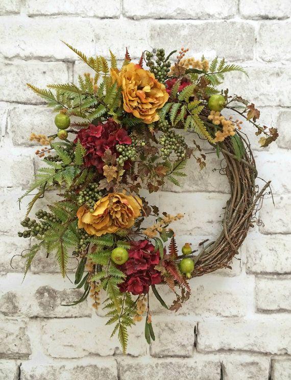 Přední dveře věnec, Silk Květinový věnec, vinná réva věnec, Venkovní Věneček, podzim věnec na dveře, Fall dveře věnec, věnec podzim, podzim Decor