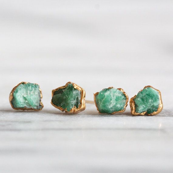 RAW EMERALD STUDS - 24K GP // 24k gold plated raw emerald stone earrings, with your choice of ear post.  + Made to order & ships in 2 weeks. +