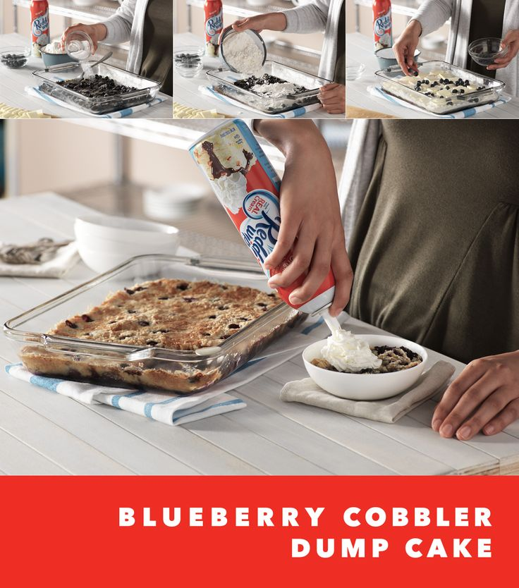This super simple, super satisfying Blueberry Cobbler Dump Cake will delight your guests and still leave you plenty of time to kick back in a hammock, dive in to that juicy novel, or (insert dreamy summertime activity here). Sweeten up any occasion in a snap when you Wip up (see what we did there?) this Blueberry Cobbler Dump Cake. Just be sure you're Reddi when they come begging for seconds!