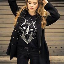 damska koszulka czarna z nadrukiem kota, bluzki