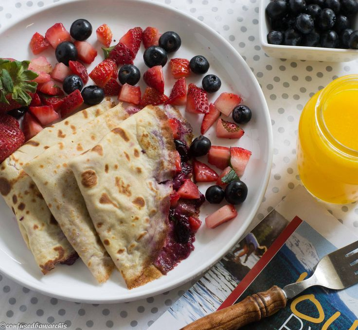 Looking for an easy, quick & healthy crepe recipe? Look no more. Here is where you'll find it. Delicious and healthy whole wheat crepes slathered with a tangy greek yogurt filling and topped with a sweet berry sauce.