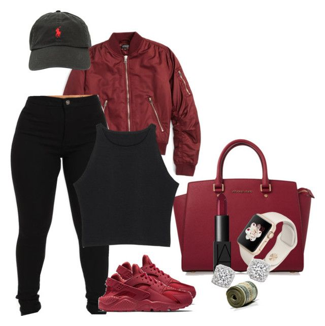 """6/2/16 Maroon"" by slhall30 ❤ liked on Polyvore featuring MICHAEL Michael Kors, NIKE, Topshop, Ralph Lauren, NARS Cosmetics and Bloomingdale's"