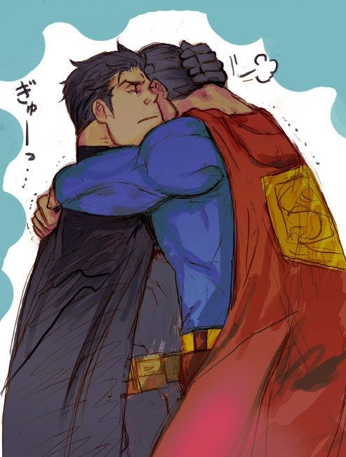 Batman and superman being gay together