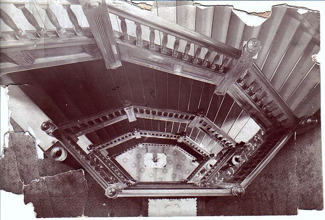 Hexagon Hotel Mineral Wells TX Staircase  Hexagon shaped hotel designed and built by David G. Galbraith located in Mineral Wells in the 70...