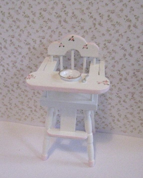 High chair,  Pink and White, twelfth scale dollhouse miniature op Etsy, 9,35 €