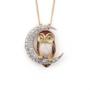 Owl & Moon Pendant Brown