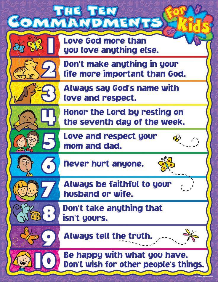 10 commandments for kids   ... Ten Commandments for Kids Chart   Best Teacher Supply Online Catalog