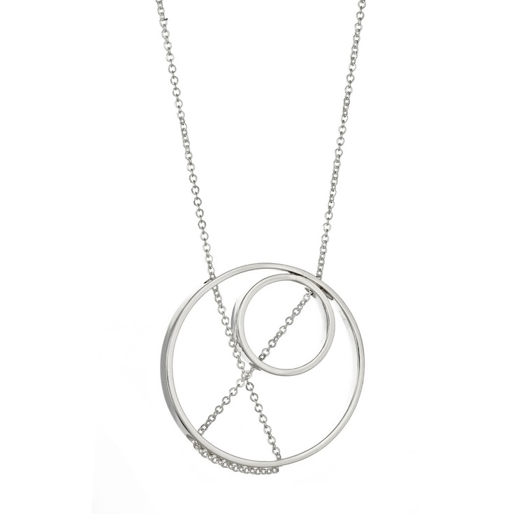 Inner Circle Necklace with Two Sterling Silver Pendants.