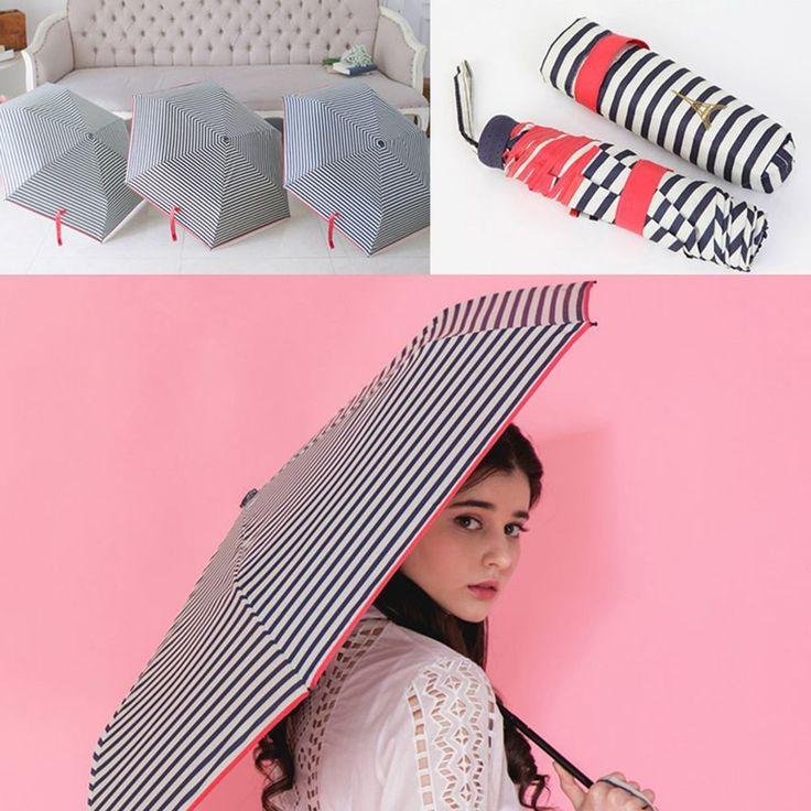 Stripe Compact 3 Folding Retractable Umbrella 6 Ribs Ultra Light Waterproof Rain #Jacc #CompactFolding
