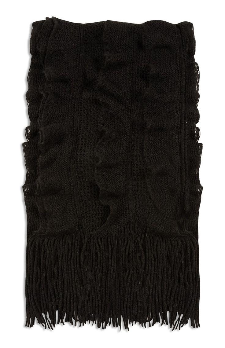 Primark - Zwarte sjaal met ruches