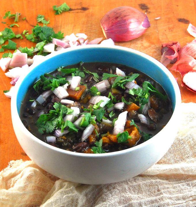 Fat free Cuban Black Bean Stew made in a crockpot. #vegan
