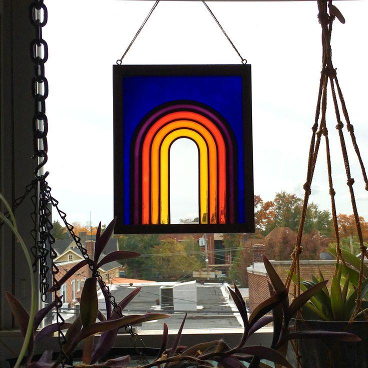 Deep Blue Rainbow Painted Glass Panel