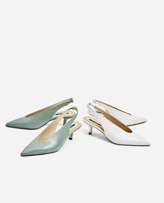 Image 6 of SLINGBACK LEATHER HIGH HEEL SHOES from Zara