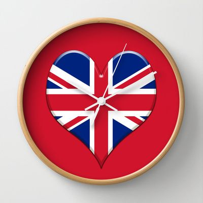 UK Union Jack flag set in a Love heart. Wall Clock by Bruce Stanfield - $30.00
