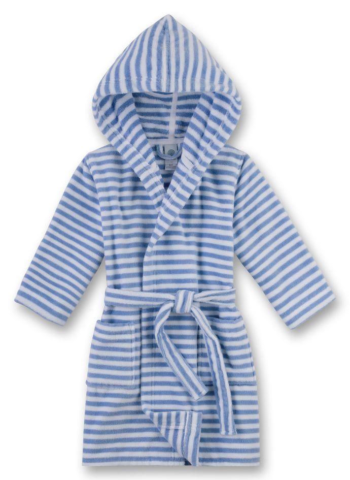 Lustiger Badespaß ist mit diesem klassischen Jungen-Bademantel von Sanetta aus einer angenehm weichen Velours Frottee-Qualität garantiert! Dieser Bademantel im trendigen blau-weißen Ringel-Look fühlt sich einfach kuschelweich auf der Haut an.
