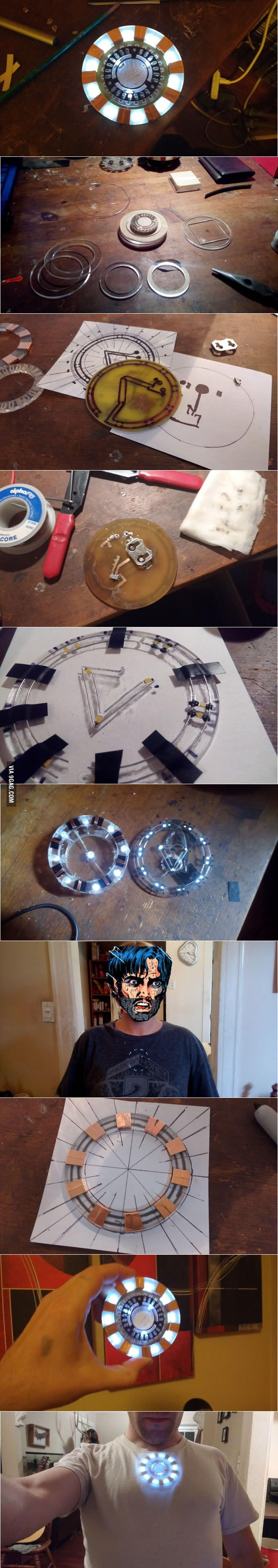 Wearable prosthetic arc reactor for Iron Man/Tony Stark cosplay (Andrew Gross)