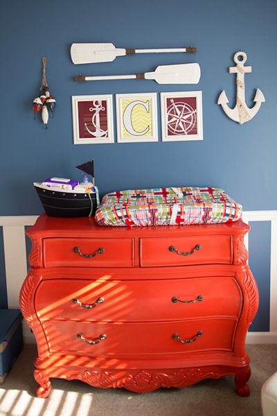 Nautical nursery ideas...really I just love the dresser and colors