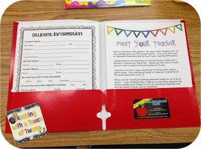Meet the Teacher Informational Folder