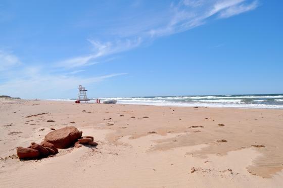 A fresh breeze at a Prince Edward Island red sand beach by rayshami