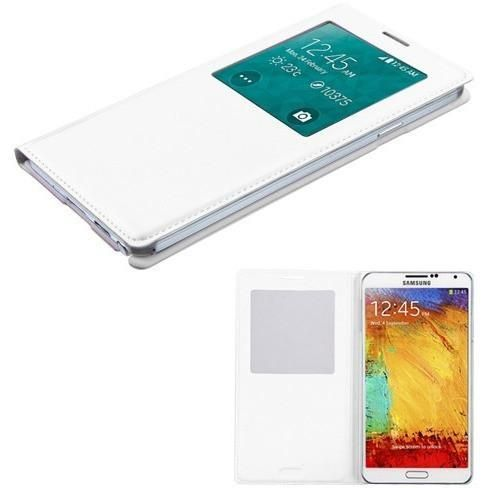 Book-Style Smart Cover w/ IC Chip Samsung Galaxy Note 3 Case - White