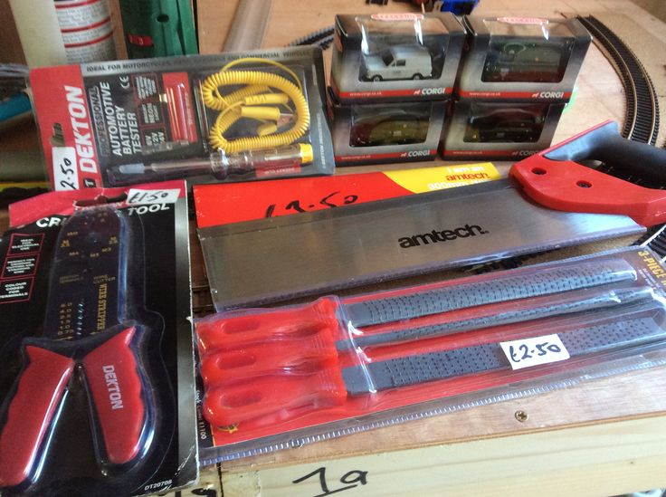Tools = Tennon Saw, Wite Stripper, Rasp files & Voltage tester.  £10 the lot at Wimbledon Car Boot Sale