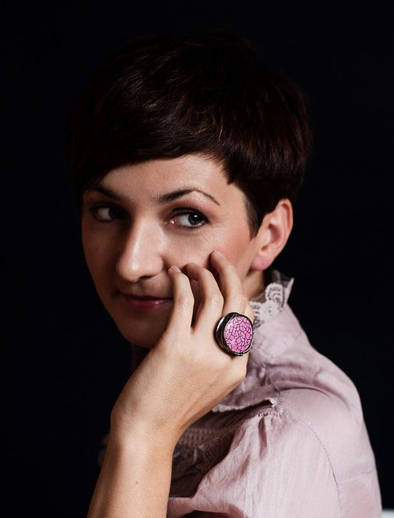 stone howlit pink ring  amazing  delicate ring for by studioARTEA
