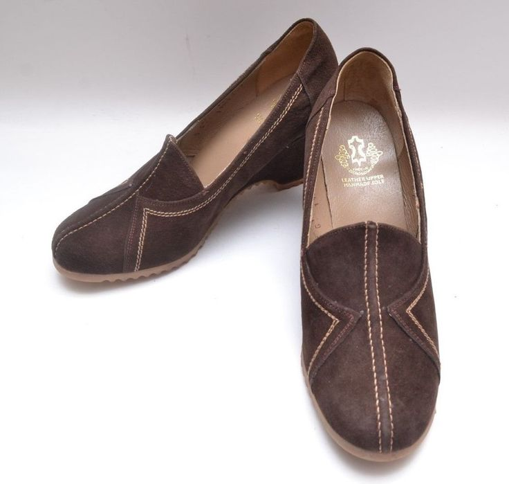 Stunning Vintage 1970s Brown Stitch Detail Suede Leather Wedge Heel Ladies Shoes #WedgeHeel #Everyday