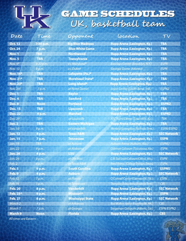 This is a graphic of Zany Kentucky Basketball Schedule Printable