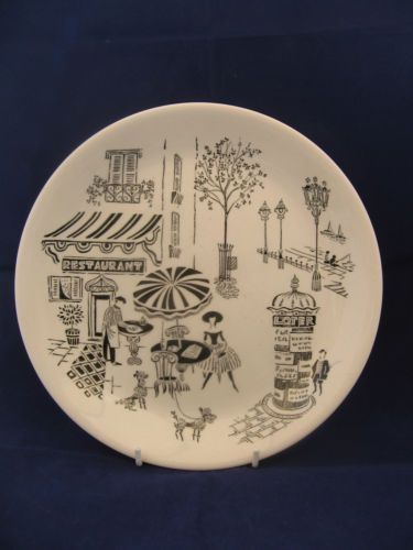 Alfred-Meakin-Parisienne-Poodle-Dinner-Plate-10-Inches-1950s-Retro-Kitsch