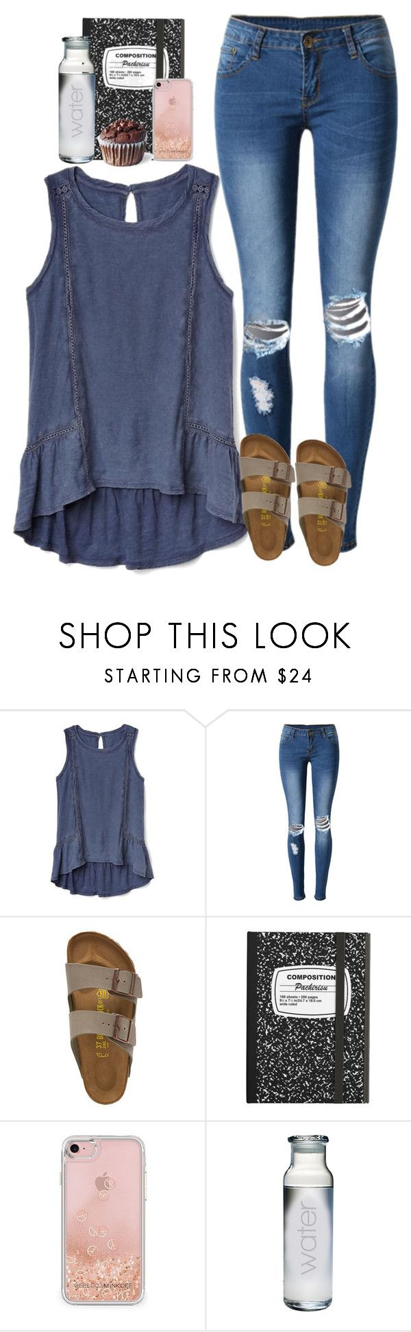 """You're my Kryptonite"" by labures ❤ liked on Polyvore featuring Gap, WithChic, Birkenstock and Rebecca Minkoff"