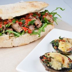 This is a Jaime Oliver big steak sandwich with yummy flavours plus great stuffed mushrooms.