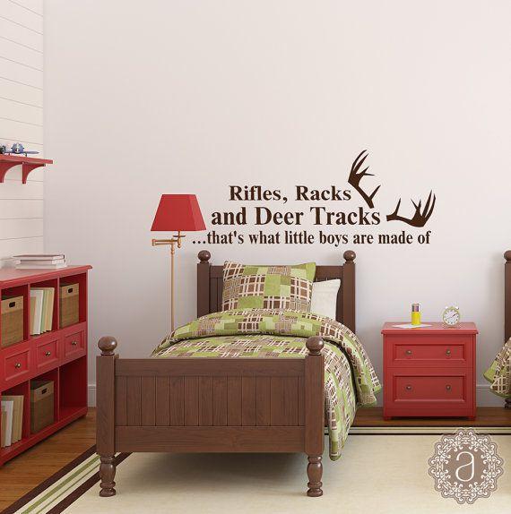 Hunting Decor - Hunting Baby - Hunting Nursery- Deer Antlers - What Little Boys are Made of- Nursery Wall Decals - Deer Hunting - Western