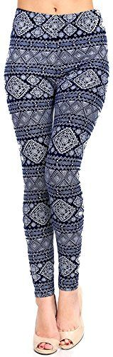 Lush Moda Extra Soft Leggings with Designs Variety of Prints  Navy Aztec Mix ** You can get more details by clicking on the image.